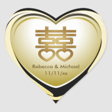 Elegant Gold Double Happiness Heart Stickers