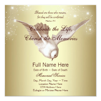 Elegant Gold Dove In Loving Memory Memorial 5.25x5.25 Square Paper Invitation Card