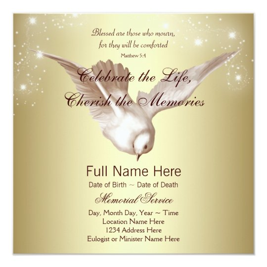 elegant gold dove in loving memory memorial invitation zazzle com