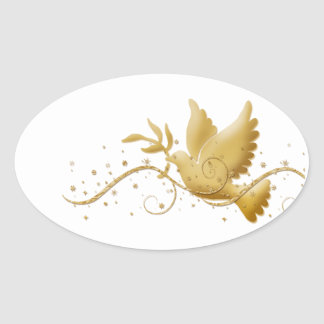 Elegant gold dove of peace oval sticker