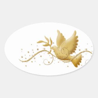 Elegant gold dove of peace oval sticker