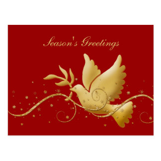 Elegant gold dove peace holiday post card