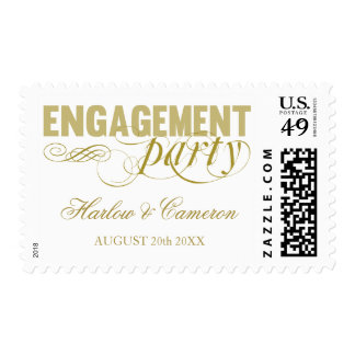 Elegant Gold Engagement Party Postage
