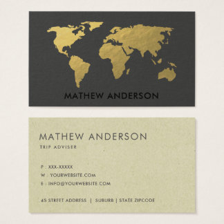 ELEGANT GOLD FAUX BLACK WORLD MAP PERSONALIZED BUSINESS CARD