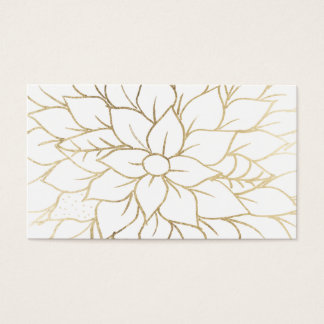 Elegant gold faux foil chic flourish pattern business card