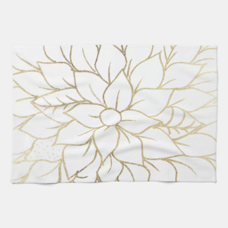 Elegant gold faux foil chic flourish pattern kitchen towel
