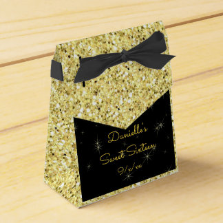 Elegant Gold, Faux Glitter, Sweet Sixteen Favor Box