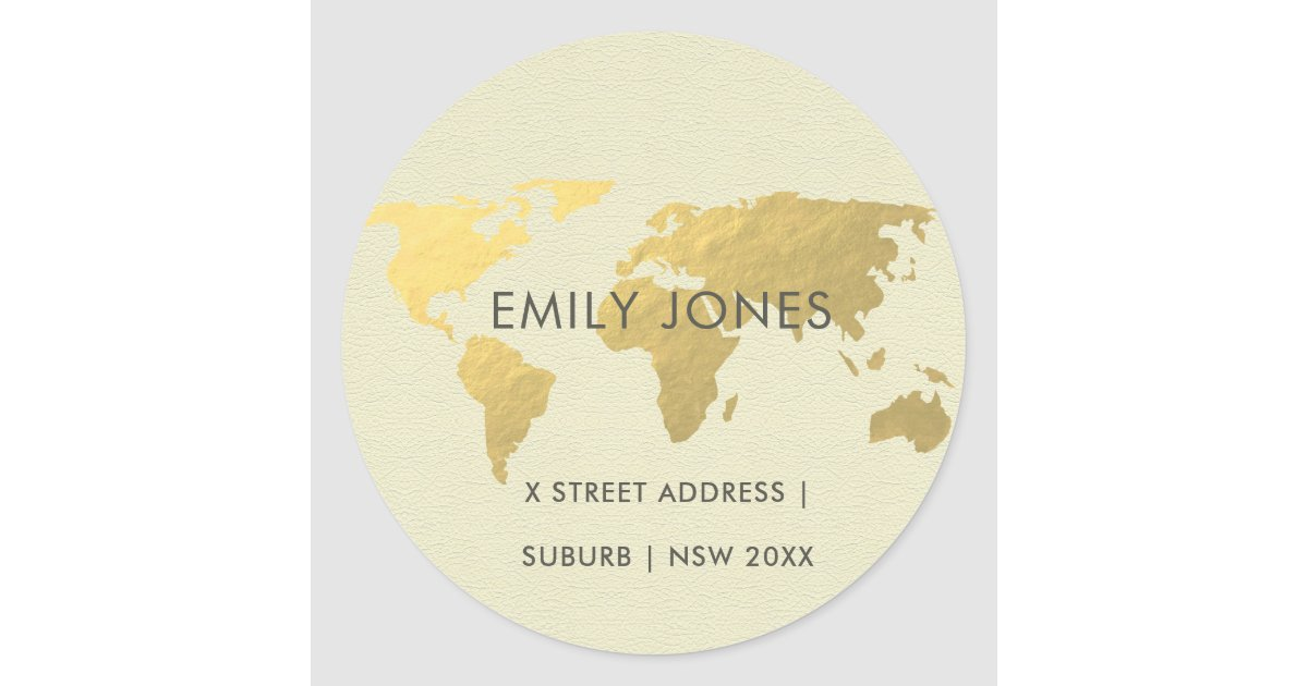ELEGANT GOLD FAUX KRAFT WORLD MAP PERSONALIZED CLIC ROUND STICKER | on national geographic personalized map, persona map, usa map, personalized world globe, personalized map u.s. travelers, yoga mind map, personalized travel map, personalized map jigsaw puzzle, personalized wall map, road map, places i have been map, personalized map gifts,