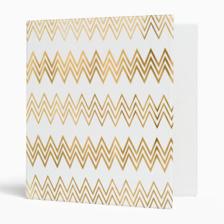 Elegant gold faux leaf chevron pattern binder