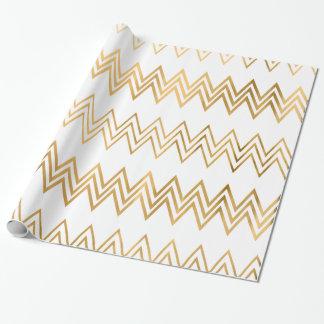 Elegant gold faux leaf chevron pattern wrapping paper