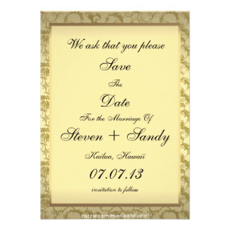 Elegant Gold Filigree Save The Date Announcement
