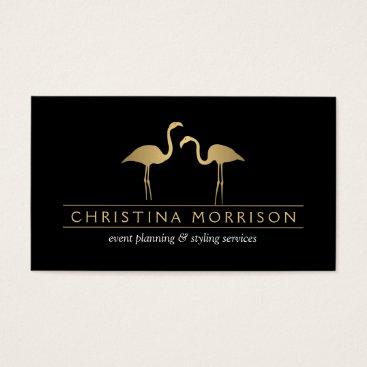 Professional Business Elegant Gold Flamingos Event Planner Business Card