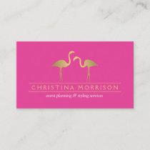 Elegant Gold Flamingos Event Planner Pink Business Card