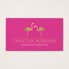 Elegant Gold Flamingos Event Planner Pink Business Card at Zazzle