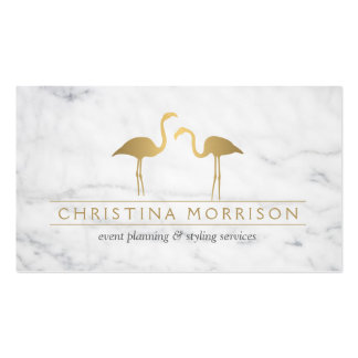 Elegant Gold Flamingos Event Planner White Marble Business Card