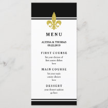 Elegant Gold Fleur de Lis Black and White Menu