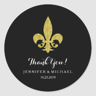 Elegant Gold Fleur de Lis for Wedding on Black Classic Round Sticker