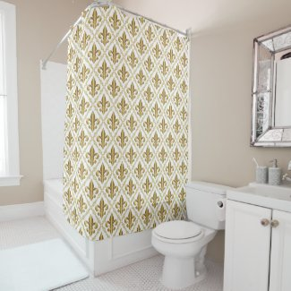 Elegant Gold Fleur-de-Lis Pattern Shower Curtain
