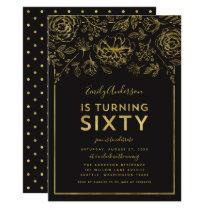 Elegant Gold Floral 60th Birthday Party Invitation