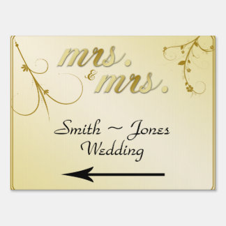Elegant Gold Floral Gay Wedding Direction Sign