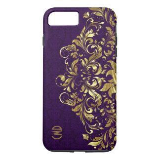 Elegant Gold Floral Lace Purple Damasks iPhone 7 Plus Case