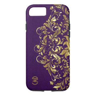 Elegant Gold Floral Lace Purple Damasks iPhone 8/7 Case