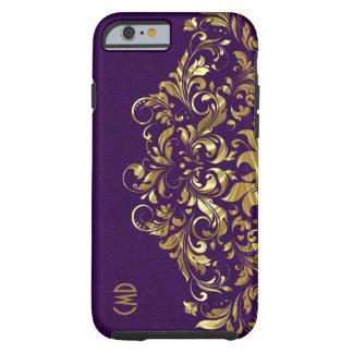 Elegant Gold Floral Lace Purple Damasks Tough iPhone 6 Case