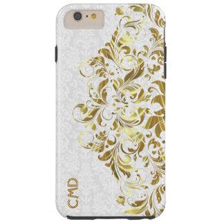 Elegant Gold Floral Lace White Damasks iPhone 6 Plus Case