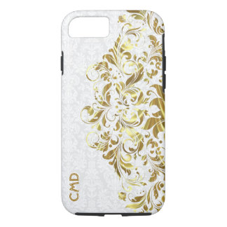 Elegant Gold Floral Lace White Damasks iPhone 8/7 Case
