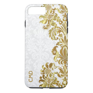 Elegant Gold Floral Lace White Damasks iPhone 8 Plus/7 Plus Case
