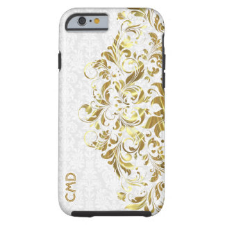 Elegant Gold Floral Lace White Damasks Tough iPhone 6 Case