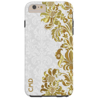 Elegant Gold Floral Lace White Damasks Tough iPhone 6 Plus Case