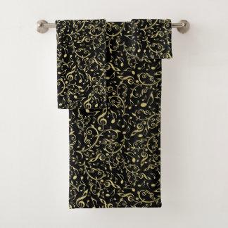 Elegant Gold Floral Music Notes on Black Towel Set