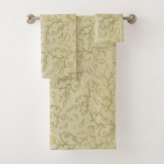 Elegant Gold Floral Music Notes Pattern Towel Set
