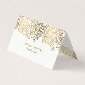 Elegant Gold Floral Paisley Lace Business Card
