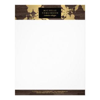 Elegant Gold Floral Pattern Dark Wood Designer Letterhead