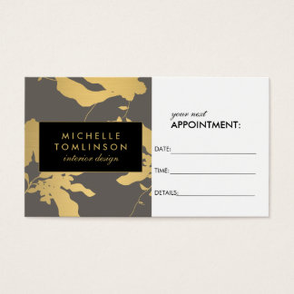 Elegant Gold Floral Pattern Gray Appointment Card