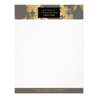 Elegant Gold Floral Pattern Gray Designer Letterhead