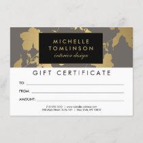 Elegant Gold Floral Pattern Gray Gift Certificate