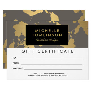 Elegant Gold Floral Pattern Gray Gift Certificate Card