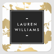 Elegant Gold Floral Pattern on White II Square Sticker