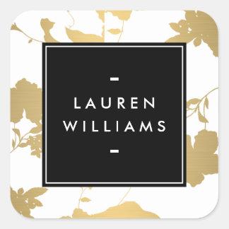 Elegant Gold Floral Pattern on White II Square Sticker
