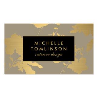 Elegant Gold Floral Pattern Taupe Designer Business Card