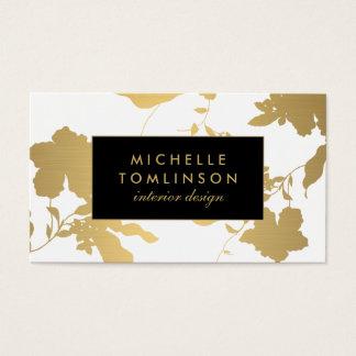 Elegant Gold Floral Pattern White Designer Business Card