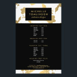 """Elegant Gold Floral Pattern White Designer Flyer<br><div class=""""desc"""">Coordinates with the Elegant Gold Floral Pattern White Designer Business Card Template by 1201AM. A vintage-styled floral pattern in faux gold becomes an elegant backdrop on this glamorous flyer template. Your name or business name is stylishly displayed within a gold framed black nameplate across the top. The flyers are great...</div>"""