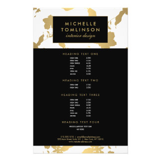Elegant Gold Floral Pattern White Designer Flyer