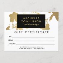 Elegant Gold Floral Pattern White Gift Certificate