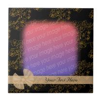 Elegant Gold Floral Pattern Your Photo Tile