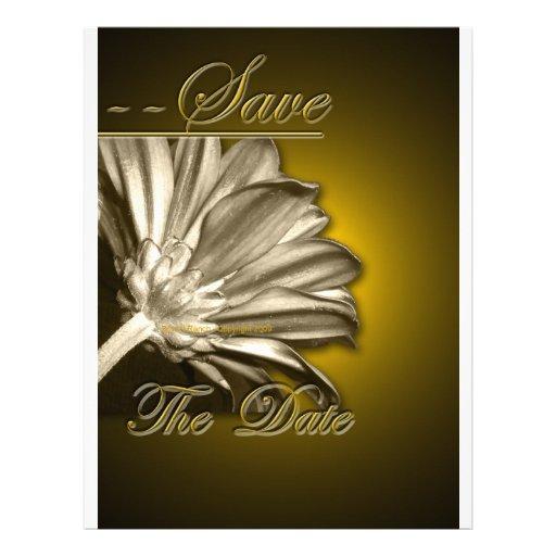 Elegant Gold Floral  Save the Date Letterhead