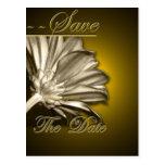 Elegant Gold Floral  Save the Date Postcard